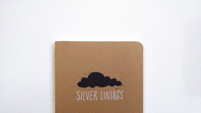 details of silver linings notebook with black cloud and metallic silver letters