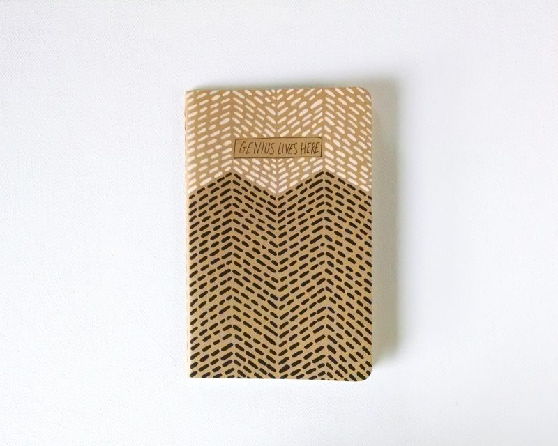 genius lives here moleskine notebook handpainted with stitch like brushstrokes in blush and black by messy bed studio