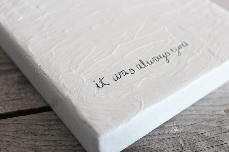 love note it was always you small textured minimalist painting in white by messy bed studio