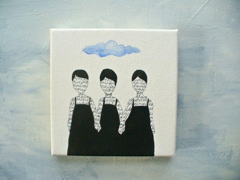 Sisters mixed media painting