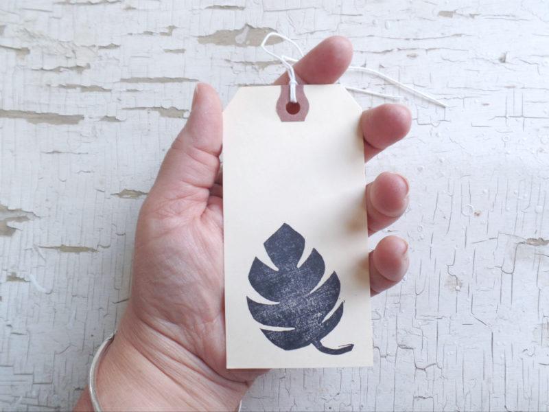 monstera leaf block print tag by messy bed studio
