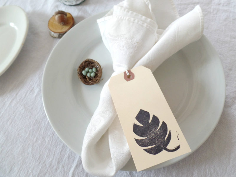 monstera leaf print wedding table setting tag by messy bed studio