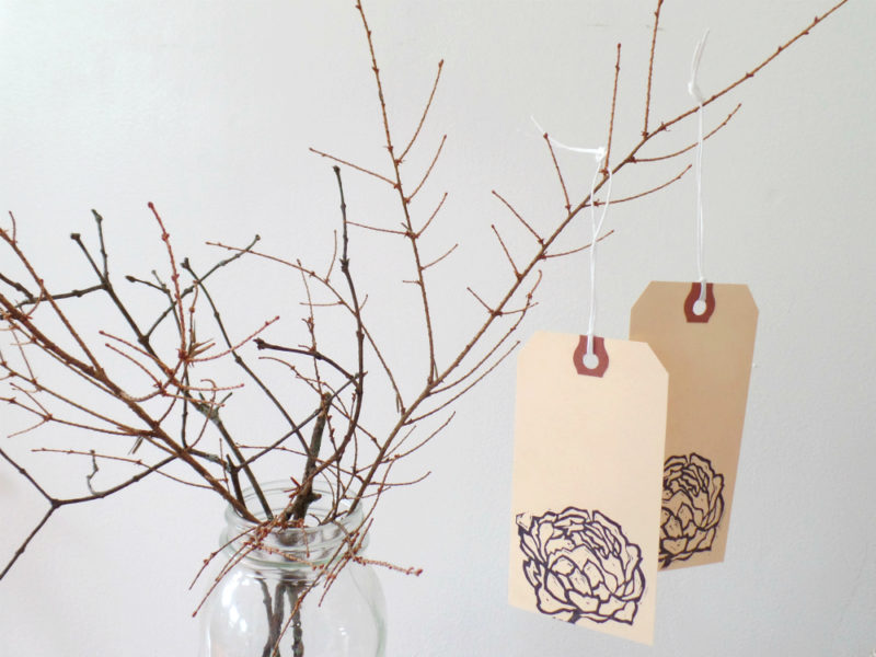 alternative wedding wish tags with peonies by messy bed studio