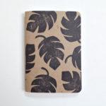 monstera leaf block print notebook