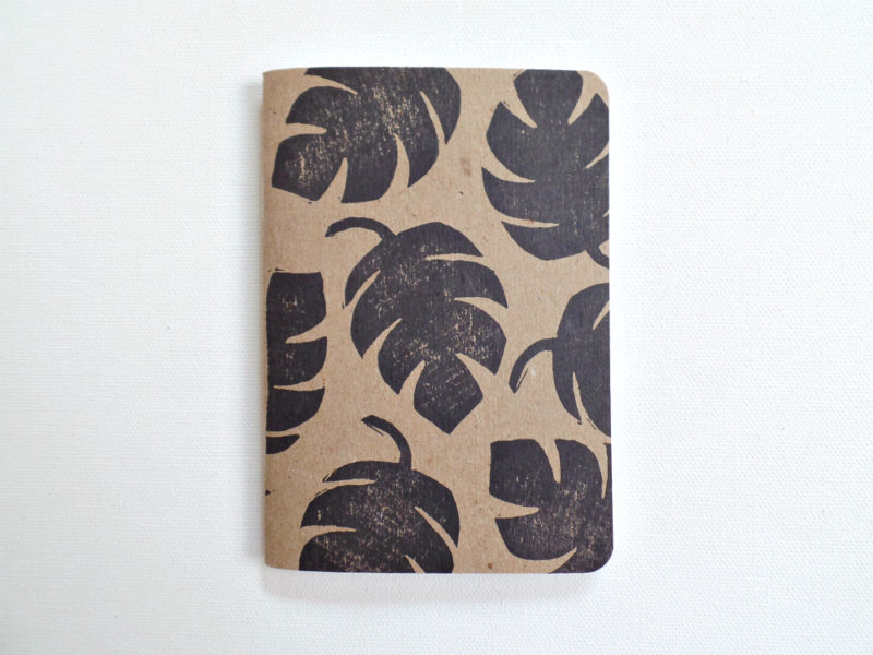 monstera leaf block print notebook