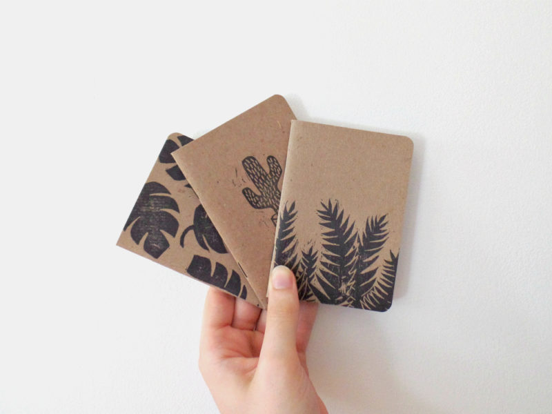 set of 3 block print notebooks