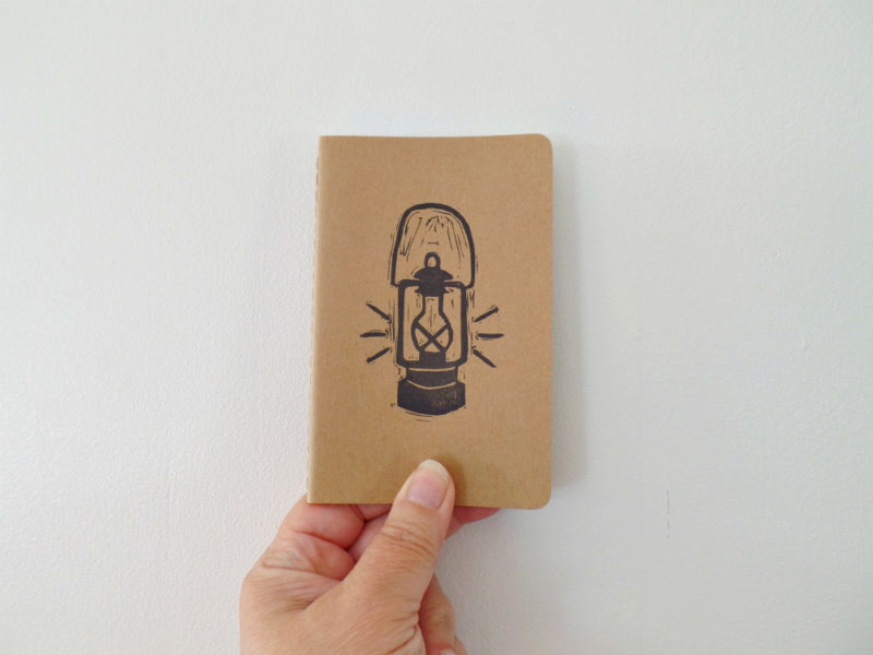 moleskine notebook with hand printed lantern
