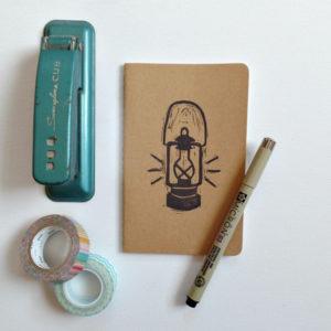 vintage lantern moleskine notebook