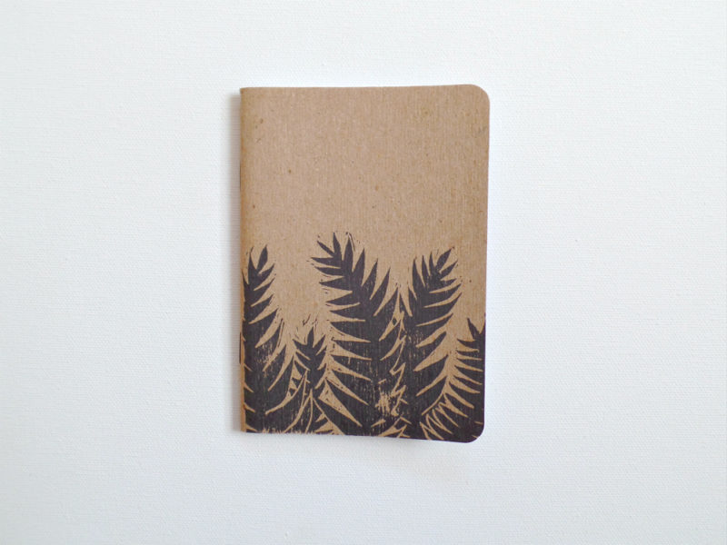 tropical leaves hand printed notebook