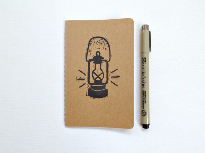retro camping lantern notebook