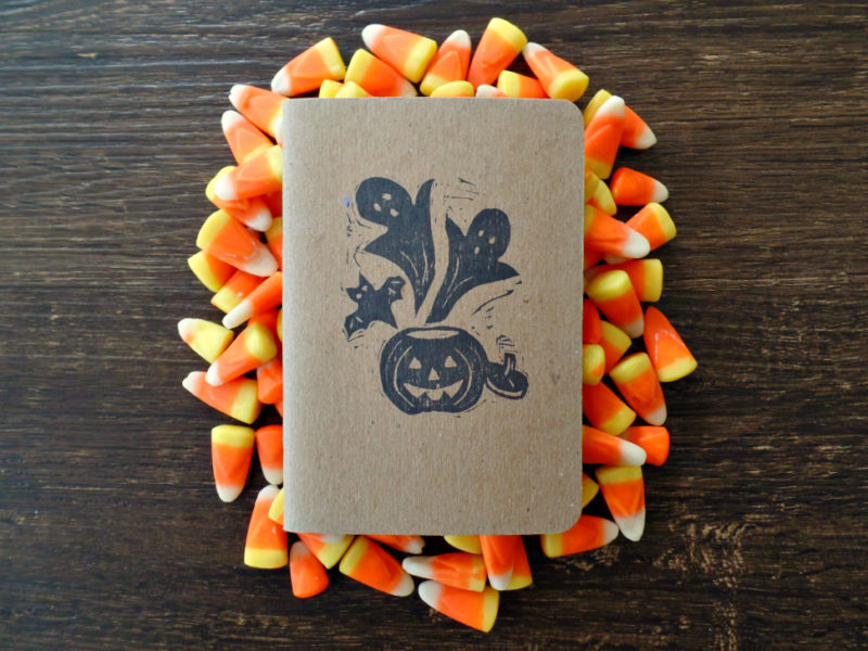 candy corn and halloween notebook