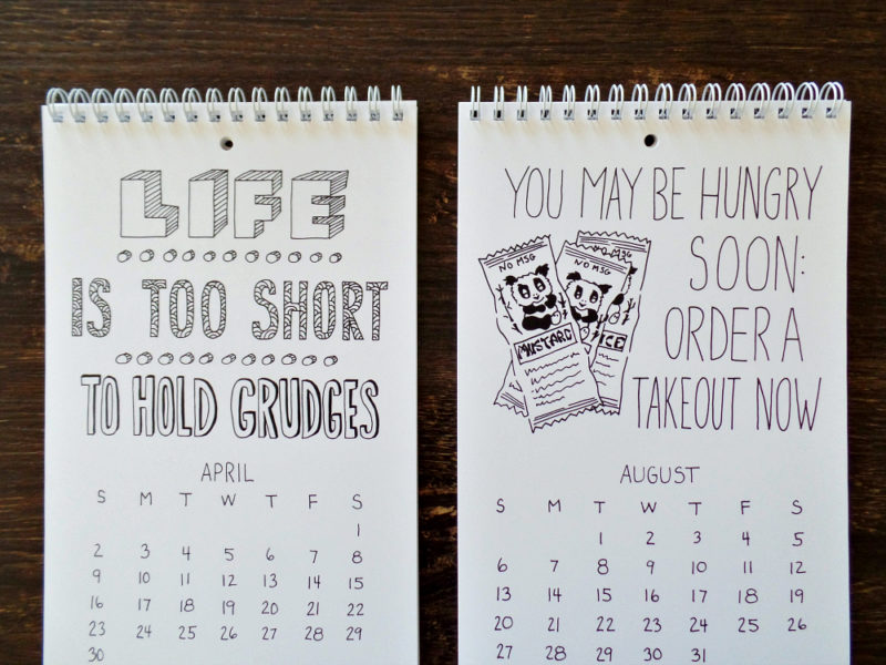 fortune cookie wisdom calendar by messy bed studio