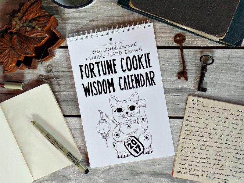 2017 fortune cookie wisdom calendar on desk