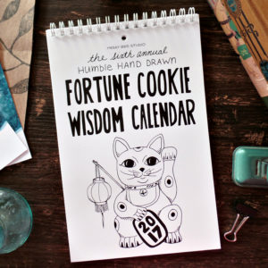 2017 fortune cookie wisdom calendar on desk
