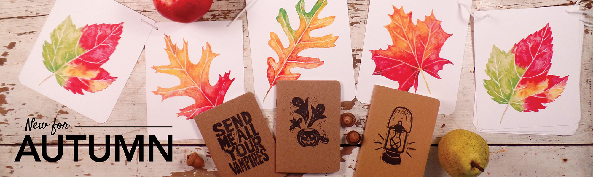 Notebooks, banners, fortune cookie wisdom calendar for fall