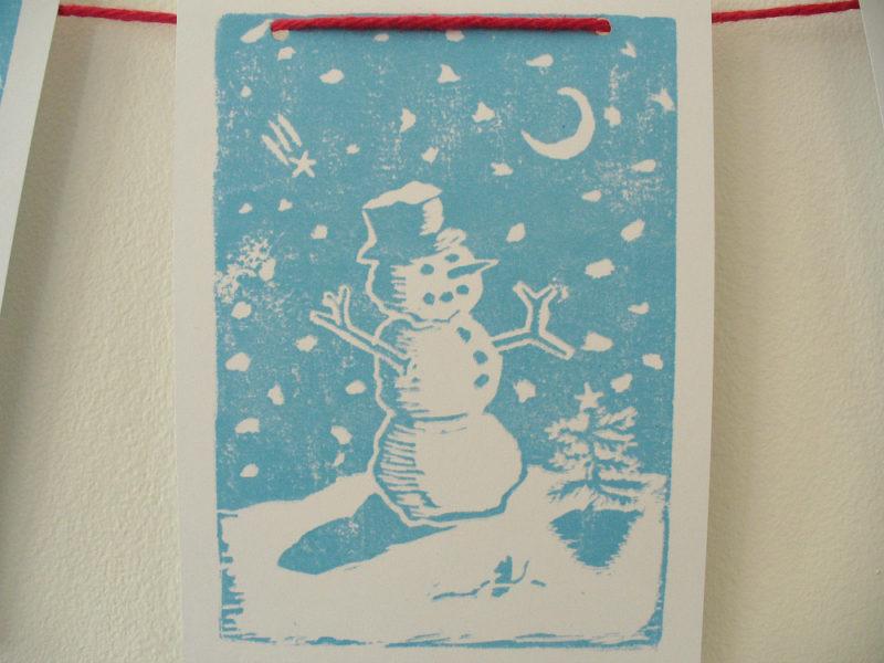 block print Christmas scene banner