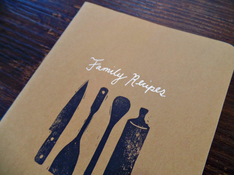 blank family recipe notebook with silver handwriting