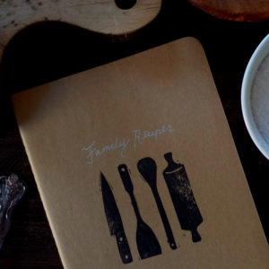 family recipes notebook hand printed