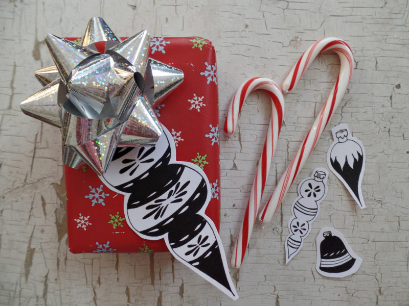 mid century inspired christmas ornaments used as gift tags