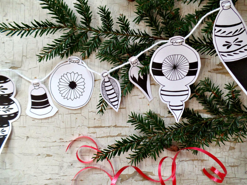 mid century style hand drawn ornaments instant download banner