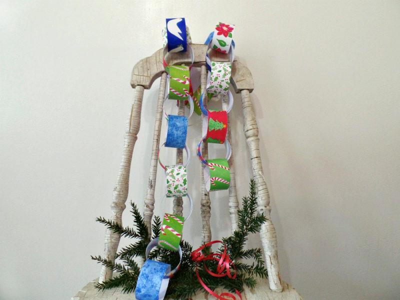 printable christmas paper chain kit on vintage chair