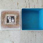 blue inside of hand painted keepsake box