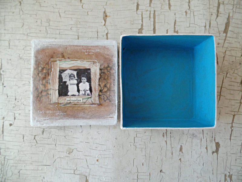 blue inside of hand painted keepsake box