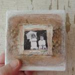 memories mixed media box with vintage photo