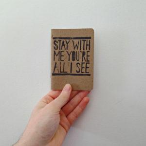 hand printed song lyric wedding vow journal