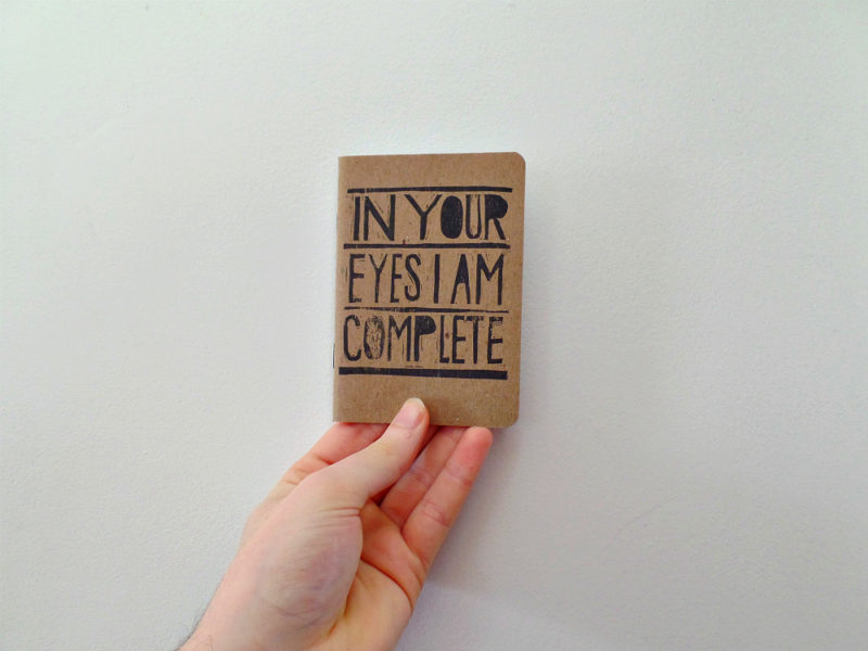hand printed in your eyes i am complete pocket notebook