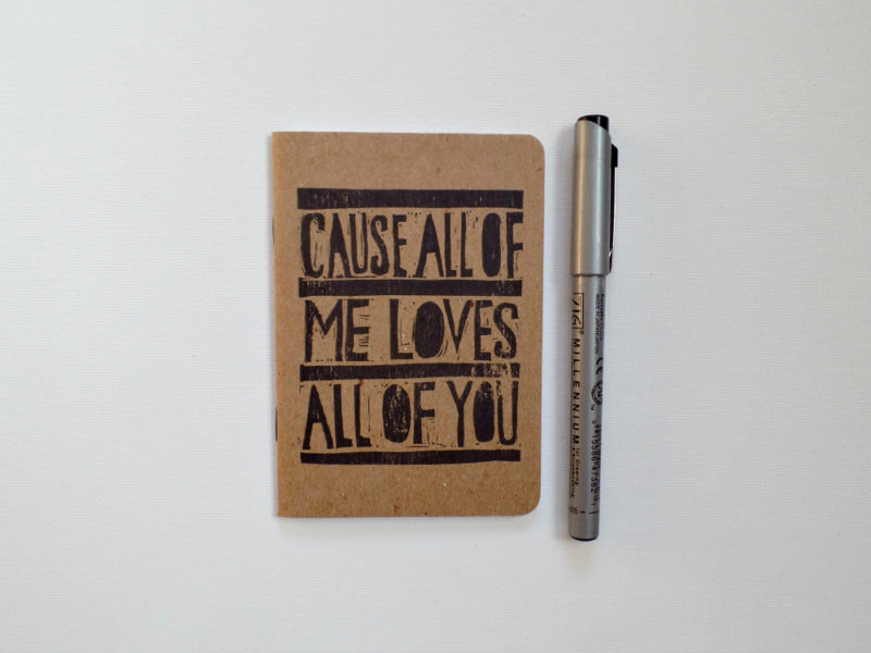 cause all of me song lyrics notebook