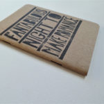 hand printed notebook with van morrison song lyrics