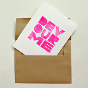 hand printed greeting card with envelope