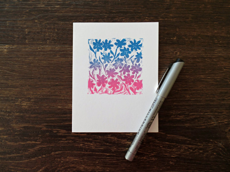 card with flowers in pink, blue and purple