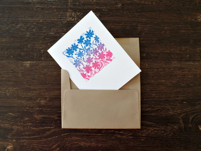 floral note card with kraft envelope