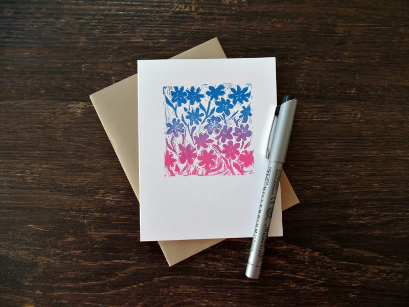 floral all occasion card with kraft envelope by messy bed studio