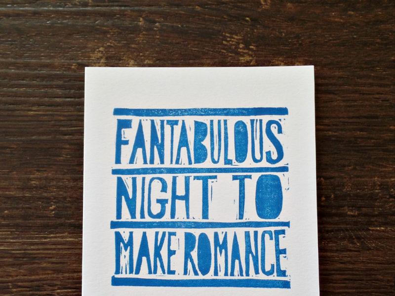 hand printed fantabulous card