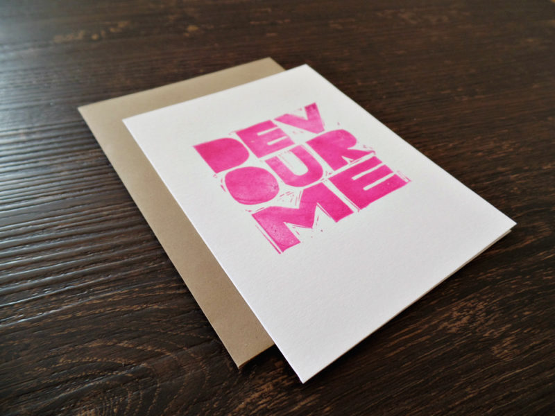 hand printed devour me anniversary card by messy bed studio