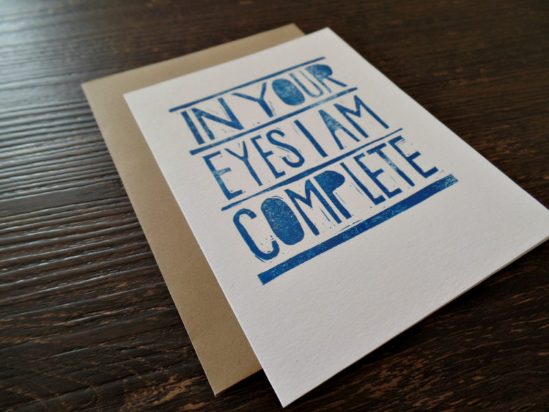 in your eyes i am complete card