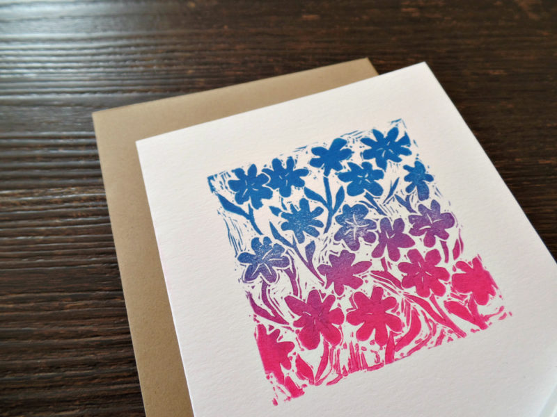 botanical hand printed card with envelope by messy bed studio