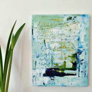 blue abstract painting by messy bed studio