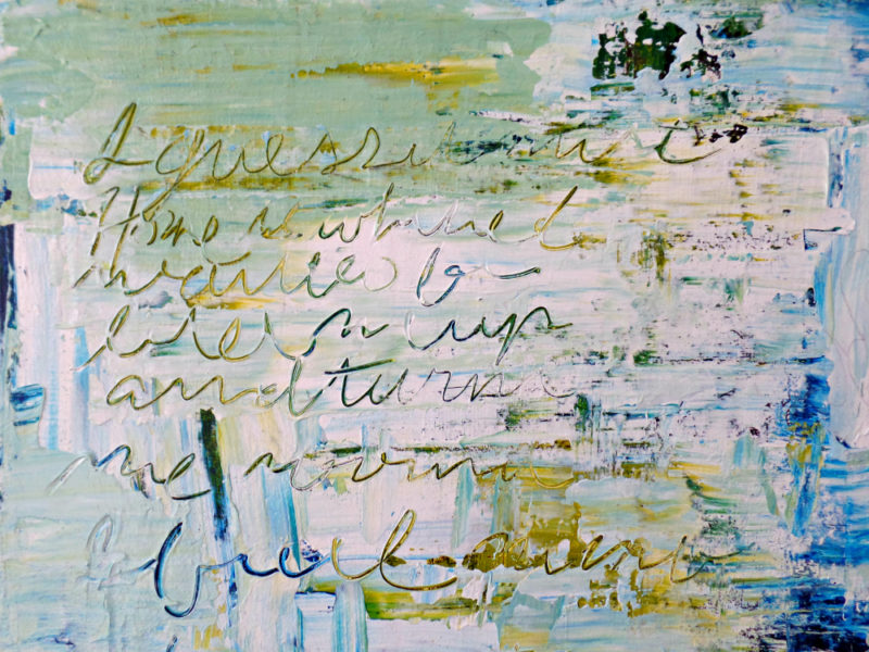close up of mixed media painting with words