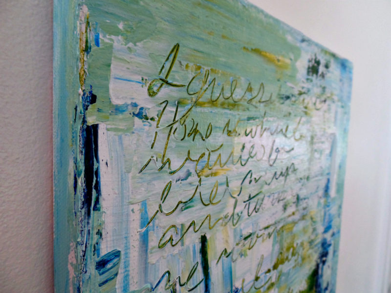 close up of abstract painting showing texture