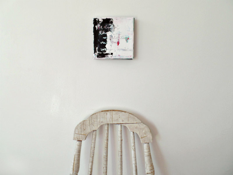 mixed media original art painting and chair