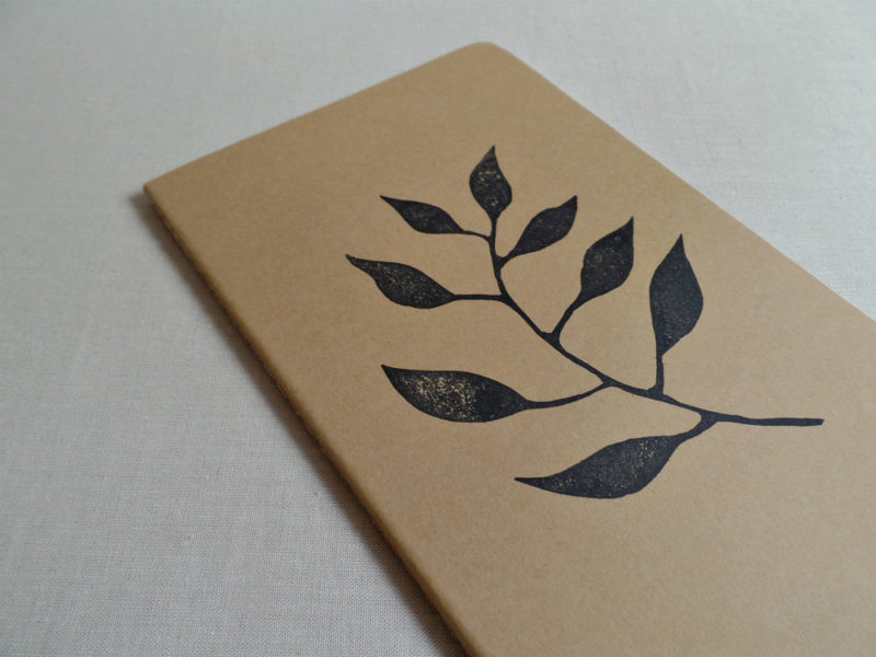 garden journal with leaves design on moleskine notebook