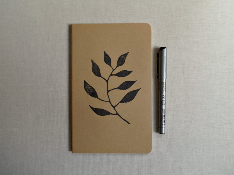hand printed garden journal with zig pen