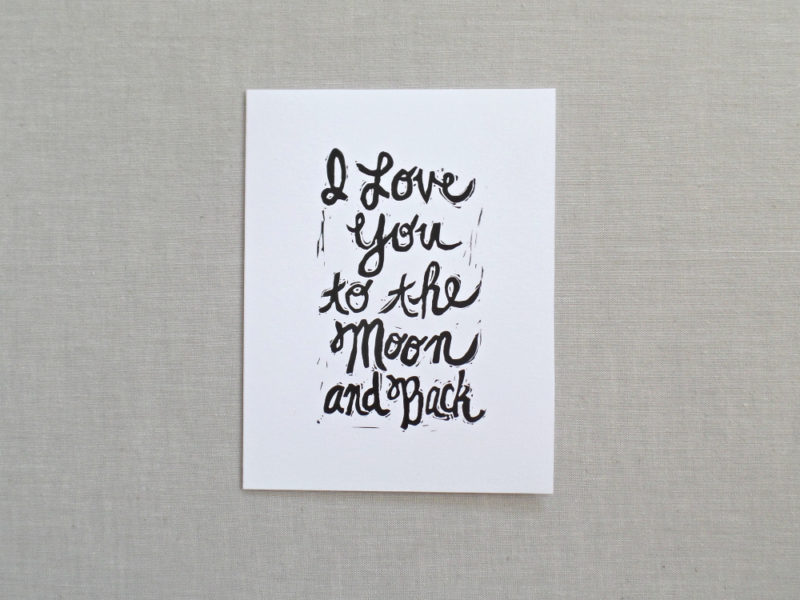 i love you to the moon and back greeting card by messy bed studio