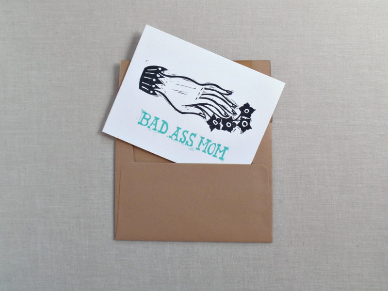 bad ass mom card in kraft envelope