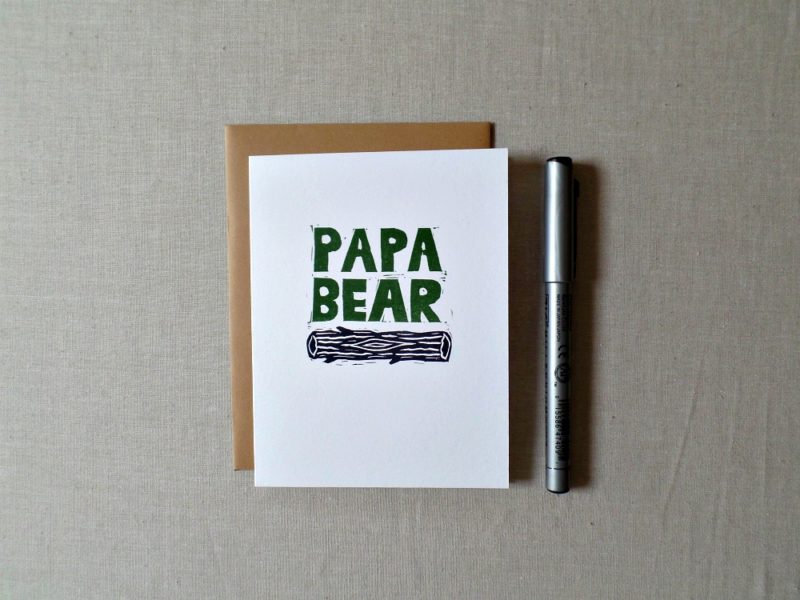 papa bear hand printed card with envelope