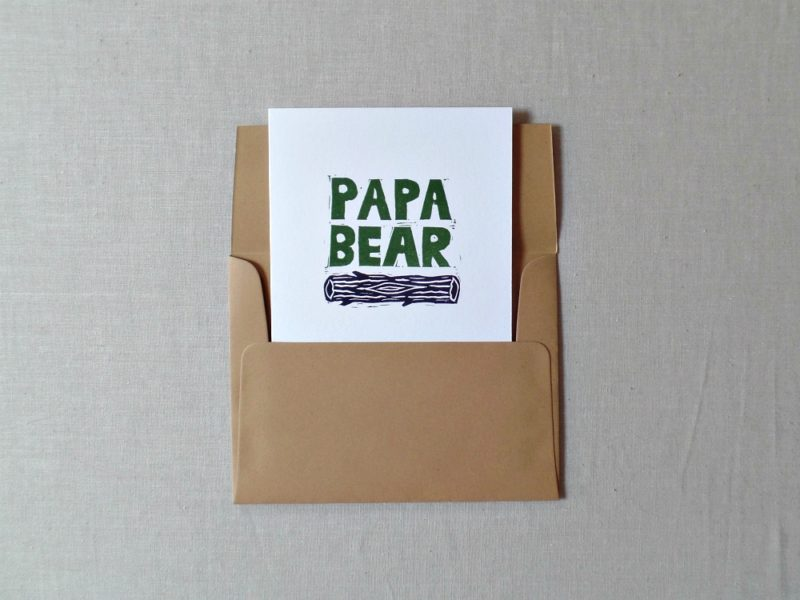 papa bear card for dad in envelope